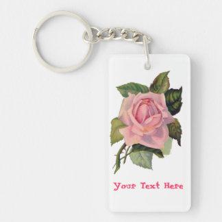 Beautiful Personalized Pink Rose Keychain