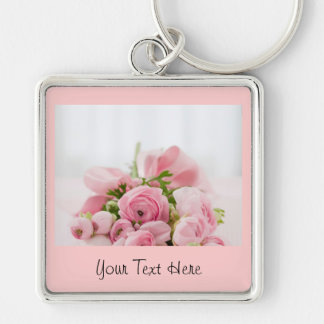 Beautiful Personalized Pink Roses Keychain