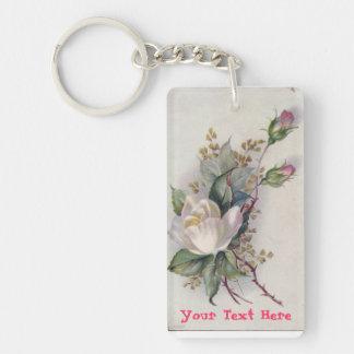Beautiful Personalized White Rose Keychain