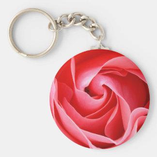 Beautiful pink rose blossom basic round button keychain