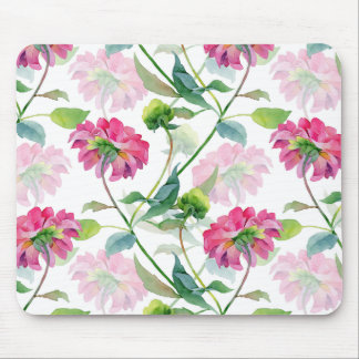 Beautiful Pink Watercolor Flowers Illustration Mouse Pad