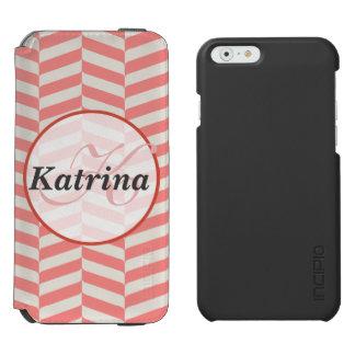 Beautiful warm pink beige zigzag geometric pattern incipio watson™ iPhone 6 wallet case