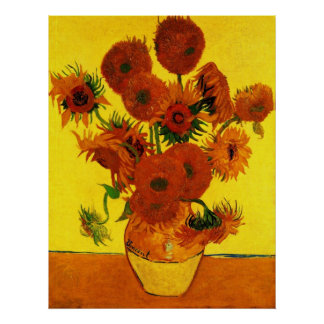 Beaux-arts de Van Gogh, vase avec 15 tournesols Poster