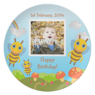Bees wishing happy birthday with photo party plate