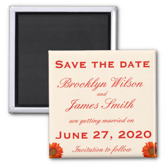 Beige Fall Wedding Save The Date Magnet