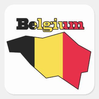 Belgium Flag in Map Square Sticker