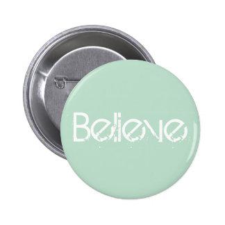 Believe - Sea Glass Edge Color 2 Inch Round Button