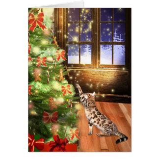 Bengal cat Christmas Greeting Card