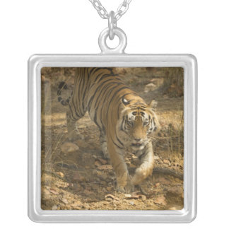 Bengal Tiger walking Square Pendant Necklace