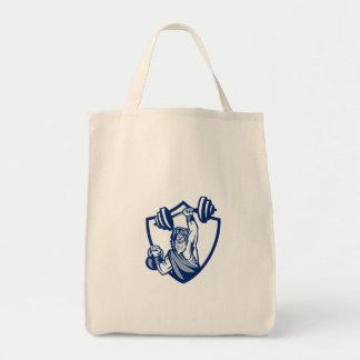 Berserker Lifting Barbell Kettlebell Crest Retro Grocery Tote Bag