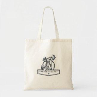 Berserker Lifting Barbell Kettlebell Fitness Circl Budget Tote Bag