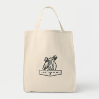 Berserker Lifting Barbell Kettlebell Fitness Circl Grocery Tote Bag