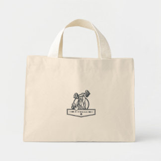 Berserker Lifting Barbell Kettlebell Fitness Circl Mini Tote Bag