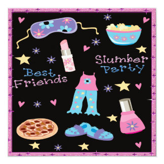 """Best Friends Slumber Party Sleepover 5.25"""" Square Invitation Card"""