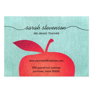 Big Red Apple Chalkboard School Teacher Linen Look Large Business Card