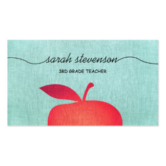 Big Red Apple School Teacher Linen Look Business Card
