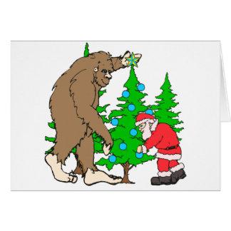 Bigfoot and Santa Christmas Greeting Card
