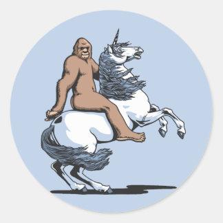 Bigfoot Riding a Unicorn Round Sticker