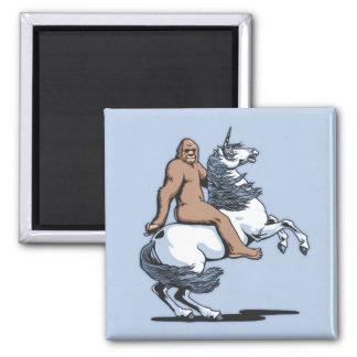 Bigfoot Riding a Unicorn Square Magnet