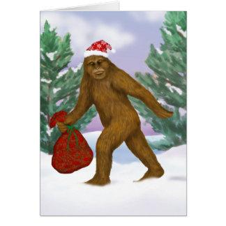 Bigfoot Santa Holiday Greeting Card