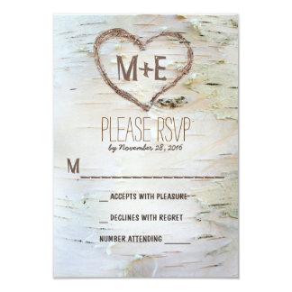 "Birch tree heart initials rustic wedding RSVP card 3.5"" X 5"" Invitation Card"