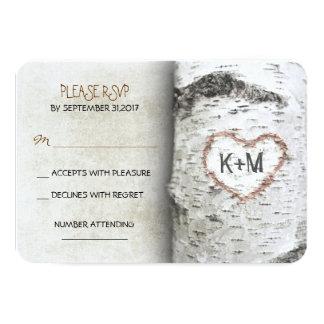 "Birch Tree Rustic Wedding RSVP Cards 3.5"" X 5"" Invitation Card"