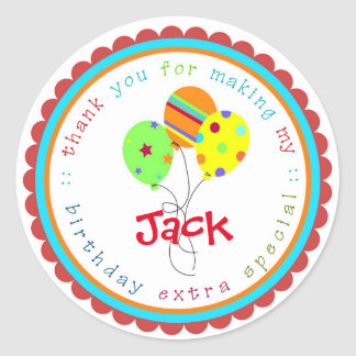 Birthday Balloons Birthday Party favor Tags Round Sticker