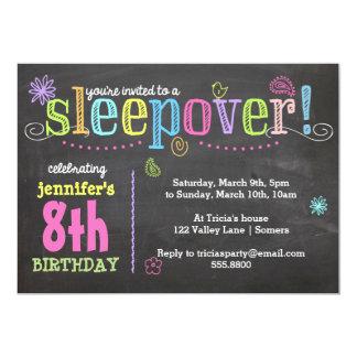 "Birthday Invitation-Sleepover Party, Chalk + Neon 5"" X 7"" Invitation Card"