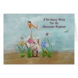 Birthday, Nephew, Pelican, Flowers and Butterflies Greeting Card