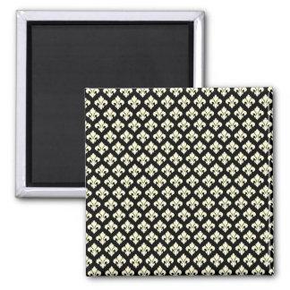 Black and cream fleur de lis square magnet