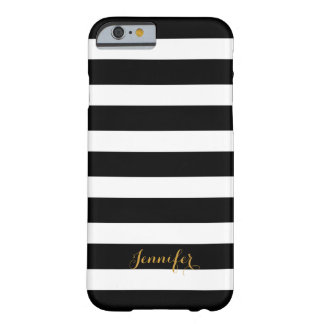 Black and Gold Classic Stripes Monogram Barely There iPhone 6 Case