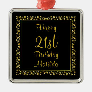 Black and Gold Floral 21st Birthday Silver-Colored Square Ornament