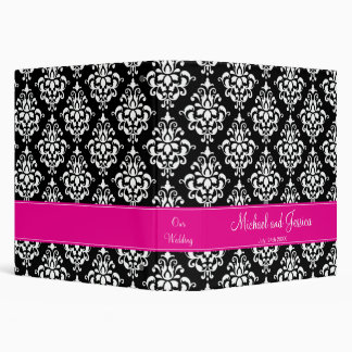 Black and Hot Pink Damask Personalized Wedding Binders