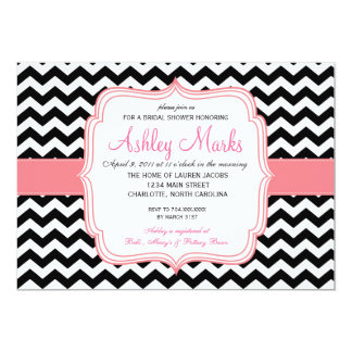 """Black and Pink 5"""" X 7"""" Invitation Card"""