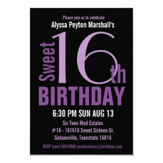 """Black and Purple Modern Text Sweet 16th Party 3.5"""" X 5"""" Invitation Card"""