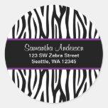 Black and Purple Zebra Custom Address Label Round Sticker
