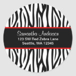 Black and Red Zebra Custom Address Label Round Sticker