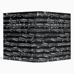 Black and white music notes vinyl binders