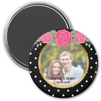 Black and White Polka Dots Roses Wedding Photo 3 Inch Round Magnet