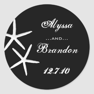 Black and White Starfish Favor Stickers