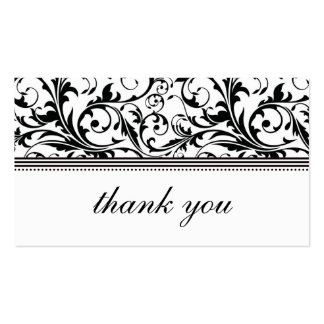 Black and White Swirl Thank You Card Business Card