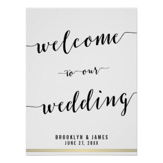 Black And White Wedding Reception Sign Gold 18x24 Poster