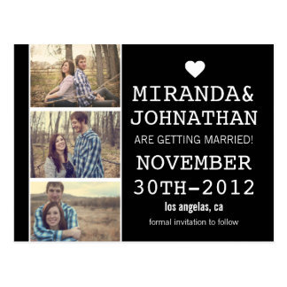 Black Bold Photo Strip Save The Date Post Cards