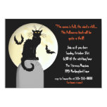 """Black Cat and Full Moon Halloween Party 5"""" X 7"""" Invitation Card"""