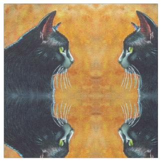 Black Cat in Profile Fabric by Rachel M Brown