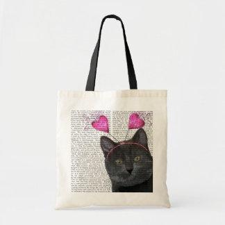 Black Cat Valentines Budget Tote Bag