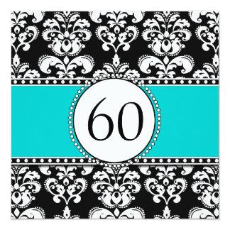 Black Damask 60th Birthday Invitation | Teal Blue