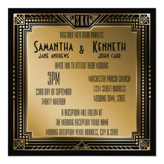 "Black & Faux Gold Great Gatsby Geometric Wedding 5.25"" Square Invitation Card"