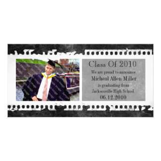 Black Film Frame Grunge Graduation Photo Card
