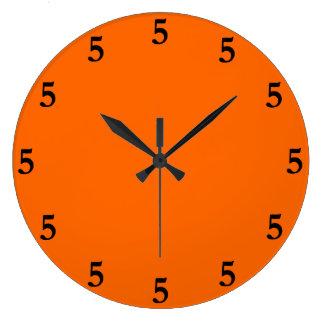 Black Five o'Clock Somewhere on Orange Wallclock